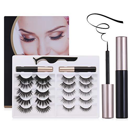 Fashion No Glue Need Mix Style False Lashes 10 Pairs Magnetic Eyelashes Kit Natural Look 2 Magnetic Eyeliner Magnetic Eyelashes with Eyeliner Kit(01)