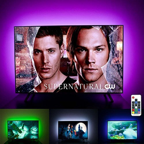 LED TV Backlight Behind 60 65 Inch HDTV Ambient Bias Lighting, USB LED TV Light Strips with RF Remote, Color Changing, Cover 4 Sides, Home Theater