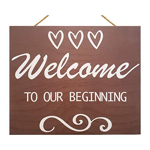 JennyGems Welcome To Our Beginning Sign - Wedding Sign - House Warming - Rustic Welcome Sign - Wooden Home Signs - Housewarming Gift - Farmhouse Decor, Front Door Decorations, Wedding Welcome Sign