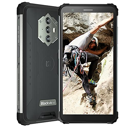 "Blackview BV6600, 5,7"" Android 10 4G Rugged Smartphone, 8580 mAh Akku, 4 GB RAM 64 GB ROM, 16 MP + 8 MP Kamera, IP68 Robusto Cellulare Rresistente, NFC Dual SIM GPS FM Nero"