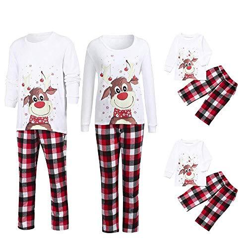 Hulday Pigiama Per La Famiglia Di Natale Pigiama Per Uomo Regali di vacanza Pigiama Per Donna Signore Bambino Neonato Abbigliamento Per Famiglia Set Per La Casa Set Natale Camicia a Quadri In Camicett
