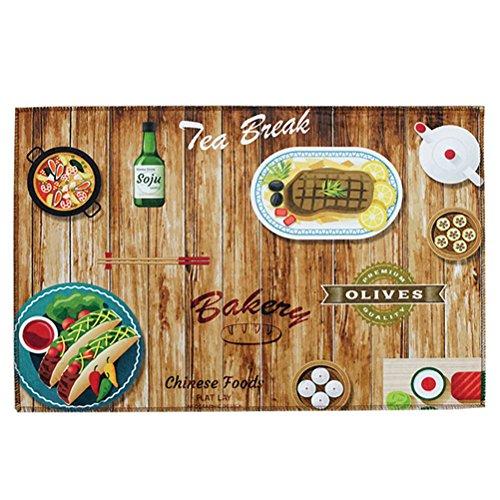 TOPBATHY Keuken mat bad deken deurmat loper tapijt set anti-slip eetkamer vloermat tapijt 40x100cm (Food Tables)