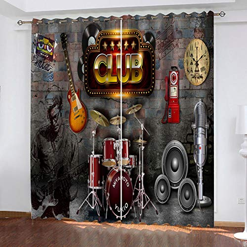 LUOWAN Cortinas Dormitorio Moderno Juvenil Club de Musica Home Cortina con Trabillas,Cortinas...