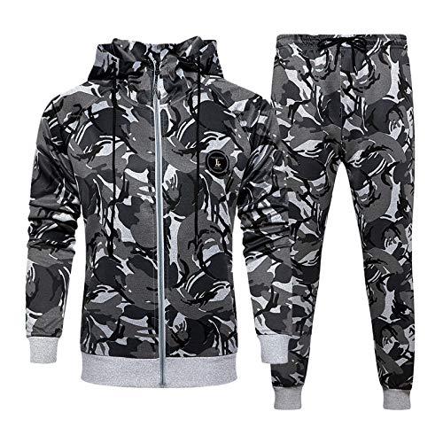 LBL - Chándal para hombre, diseño de camuflaje casual A-gris. XXL
