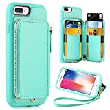 ZVE Wallet Case for Apple iPhone 8 Plus and iPhone 7 Plus, 5.5 inch, Zipper Wallet Case with Credit Card Holder Slot Handbag Purse Wrist Strap Cover for Apple iPhone 8 Plus/7 Plus 5.5 inch - Blue