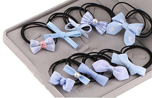 10pcs Belle bowknot Filles Femmes élastiques Porte-queue de cheval cravate cheveux, Bleu