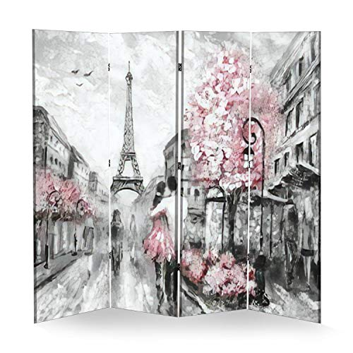 4 Panel Wall Divider Oil Painting Street View of Paris European City Landscape Folding Canvas Privacy Partition Screen Room Divider Sound Proof Separator Freestanding Protective Divider