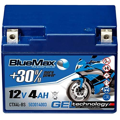 BlueMax YTX4L-BS Motorradbatterie GEL 12V 4Ah CTX4L-BS Roller Mofa Batterie 50314