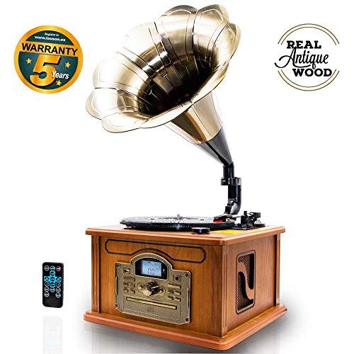 #03 GRAMMOFONO - Lauson Grammofono Retro Bluetooth, Legno Autentico Naturale, Funzione di Codifica, Giradischi Vintage in Tromba con Altoparlanti Incorporati, Radio, CD, USB, MP3, 3 velocità, CL147
