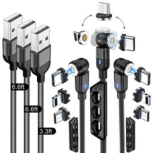 LSGAE Cable de Carga Magnético 3 en 1,Cable de Carga del Teléfono Cable de Cargador Rápido Magnético Trenzado de Nylon 3A para Teléfonos Inteligentes Micro USB/Tipo-C/Teléfono (3pcs-3.0A)