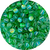 Matte Aurora Crystal Glass Beads Green 100pcs 8mm Flash Glitter Shining Mermaid Round Loose Aura Bead Frosted Moonstone for Jewelry Making (Green, 8mm)