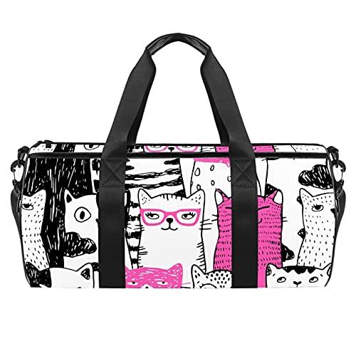 Borse da spiaggia da viaggio, grande sport palestra durante la notte borsone carino gatti stampa animale borsa a tracolla con tasca asciutta bagnato