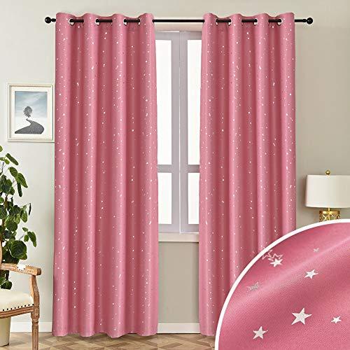 NAPEARL Cortinas para habitación infantil, color rosa, para dormitorio de niña, bonitas cortinas opacas con estrellas plateadas, juego de 2 unidades, 214 x 132 cm