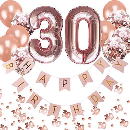 Oblique Unique® 30. Geburtstag Party Feier Deko Set - Happy Birthday Girlande + Folien Luftballons Zahl 3 und 0 + Konfetti Luftballon Set + Konfetti Zahl 30 - Roségold Rosa Champagner