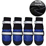 HiPaw Winter Snow Dog Boots Warm Lining Water-Resisitant Paw Protector for Medium Large Dog
