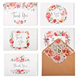 "40 Floral Thank You Cards | Thank You Notes Bulk Box Set with Envelopes & Stickers | Large 4"" x 6"