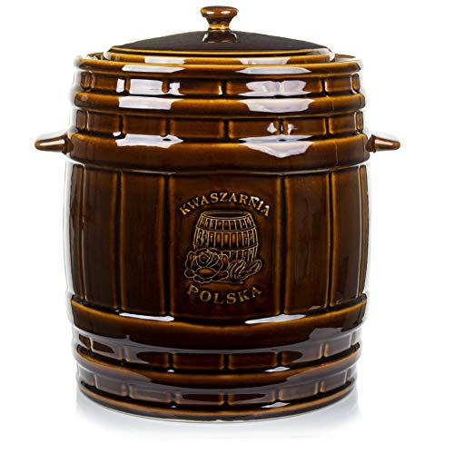 K-A Gärtopf aus Steinzeug mit Deckel Wasserrinne | 6 Liter | braun | Sauerkrauttopf Gurkentopf Einlegetopf Keramiktopf Tontopf
