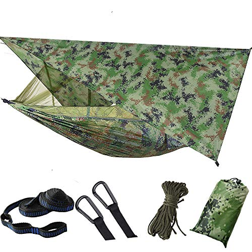FZTX-LPX Outdoor Camping Hammock with Mosquito Net And Sun Shelter, Portable Double Parachute Swing Hammocks Tent Tarp Rain Fly Waterproof