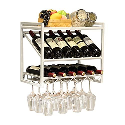 Alqn Soporte de Copa de Vino Montado en la Pared de Metal Al Revés para el Estante de Exhibición de la Decoración de la Cocina Casera,Blanco,Longitud50