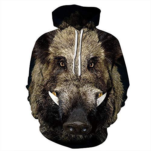 Fansu Herren Damen Kapuzenpullover 3D Hoodie,Kreative Mode Tiere Druck Unisex Freizeit Sweatshirt Pullover Langarm Paare Hoodies mit Tasche (XXL/XXXL,Wildschwein)