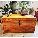 Zen et étnico - Baúl de madera de pino tintado, hecho a mano