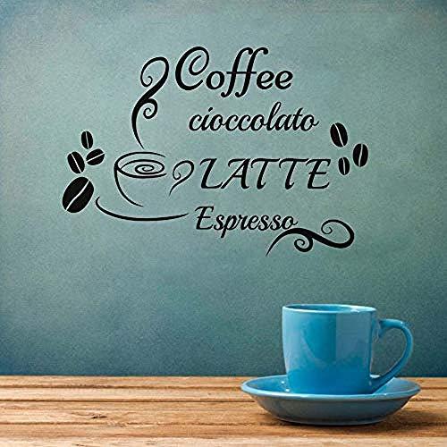 Kaffee Wandaufkleber Espresso Latte Aufkleber Vinyl Aufkleber Bohnen Tasse Wohnkultur Küche Kaffee Restaurant Abnehmbare Wandaufkleber 84cm x 58cm