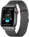 MouKou - Cinturino per Apple Watch Serie 5/4/3/2/1, 38 mm, 40 mm, 42 mm, 44 mm, maglia milanese con chiusura magnetica, cinturino di ricambio in acciaio inox, Nero-nuovo, 44MM/42MM