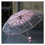 Paraguas Paraguas Transparentes para Proteger contra el Viento y la Lluvia Clear Sakura Paraguas de 3 Pliegues Campo de visión Claro Equipo de Lluvia para el hogar (Color: PK)