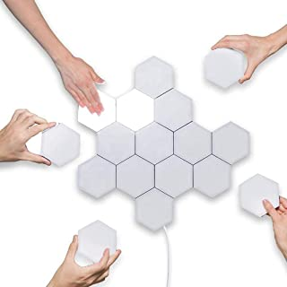 Pack of 10 MSHOP Hex Quantum Light LED Modular Touch Sensitive Light Hexagon Wall Lamp Magnetic Removable Geometry Assembly Night Light for Home Decor Hexagon Wall Lamps