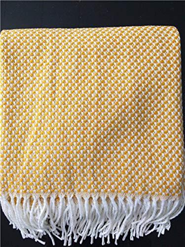 Cobija 100% algodón Raya Gigante 3 o 4 plazas sofá/King Size Throw (Lavable a máquina) para casa Dormitorio (Color : Yellow, Size : 130 * 200+10 * 2(Tassel))