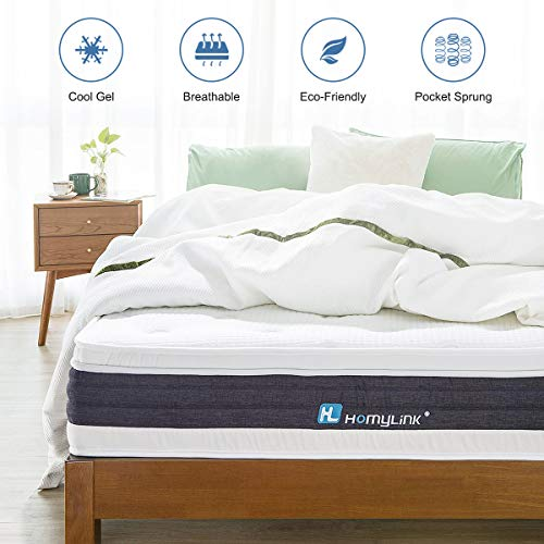 HomyLink Single Mattress, Gel Memory Foam Pocket Sprung Mattress 3FT, Orthopaedic 7-Zone Mattresses, 3D Breathable Knitting Fabric, Medium Firm, 28cm Height,90×190cm