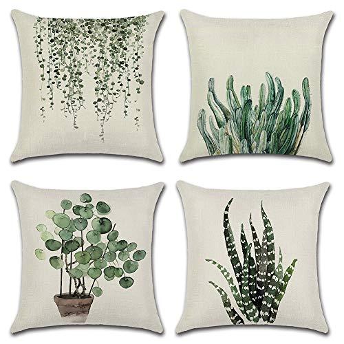 JOTOM 4er Set Kissenbezüge Tropische Pflanzen Blätter Dekorative Setzen Fall Sofa Kissenbezug Geometrische Muster 45 * 45cm (Pflanzen)