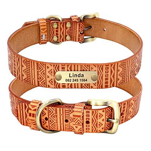 PET ARTIST Collares de perro de cuero genuino personalizados con placa de nombre grabada, collar de perro tribal de piel suave con patrón azteca en relieve, collares ajustables para mascotas,L