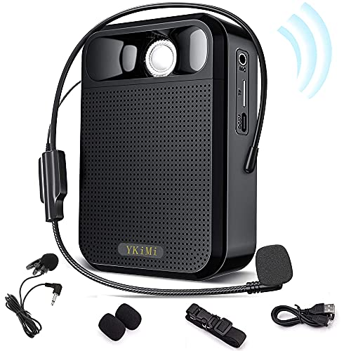 YKiMi Voice Amplifier Portable Rechargeable Mini Speaker with Wired Microphone Headset and Portable Lapel mic with Large Capacity 10W 1800mAh Rechargeable for Teachers, Tour Guide,Training, Outdoors