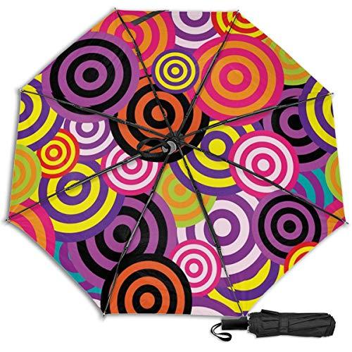 Regenschirm, Retro-Stil, 60er-/70er-Jahre, manuell, dreifach faltbar, abstrakte Kreise Schwarz Innendruck Einheitsgröße