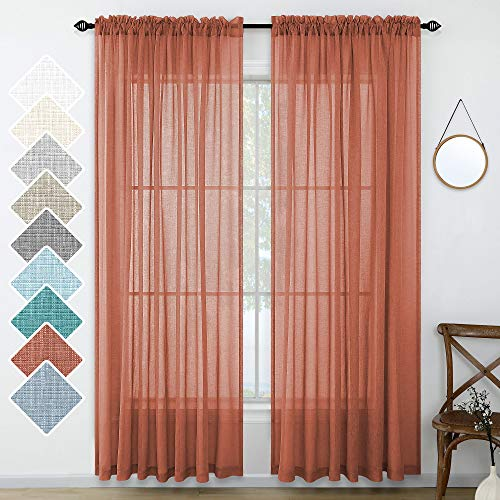 Burnt Orange Red Curtains Linen Textured for Living Room 96 Inches Long Set 2 Panels Airy Terracotta Curtains Sheer for Christmas Decoration Kids Bedroom Decor Holiday Backdrop 52x96 Length Rust