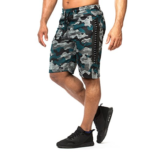 SMILODOX Herren Shorts 'Phase'   Kurze Hosen für Sport Gym Training & Freizeit   Sporthose - Freizeithose - Trainingshose - Sweatpants Jogger - Jogginghose Kurz, Größe:L, Farbe:Camouflage