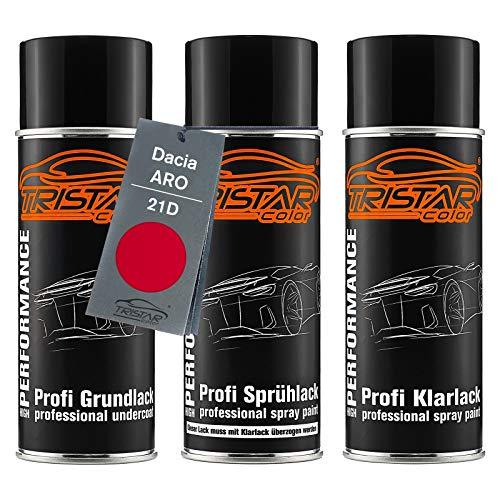TRISTARcolor Autolack Spraydosen Set für ARO/Dacia 21D Rouge Passion/Feuer Rot Grundlack Basislack Klarlack Sprühdose 400ml