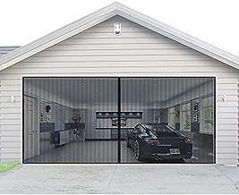 Magnetic Garage Door Screen for 2 Car 16x7 ft Double Door Mesh with Hook and Loop Tape, Heavy Duty Retractable Fiberglass Screen Door Self Sealing Magnetic Closure