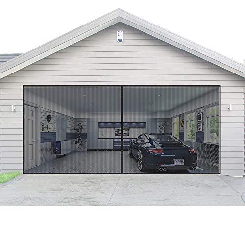 Magnetic Garage Door Screen for 2 Car 16x7 ft Double Door Mesh with Hook and Loop Tape Durable Fiberglass Garage Screen Cover Kit, Heavy Duty Door Screen Curtain