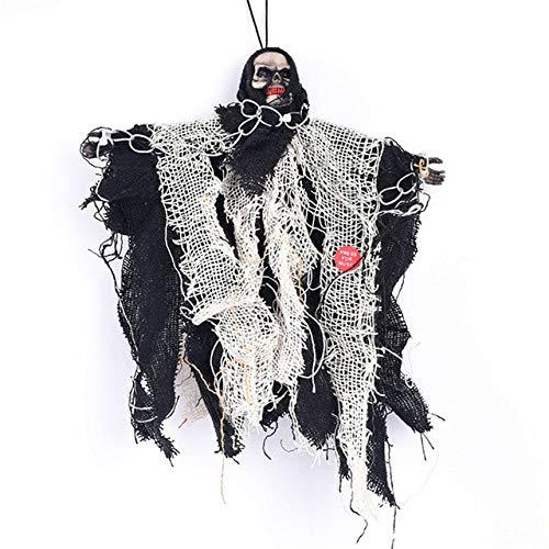 XHBYG Accesorios de Halloween Decoración de Barra Persona Completa Colgante de Terror Fantasma Control de Voz eléctrico Cadena de Hierro Pequeño Fantasma Colgante, Negro