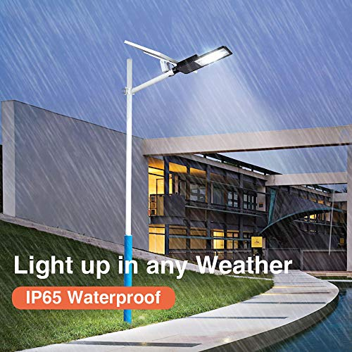300W LED Solar Street Lights, Outdoor Dusk to Dawn Pole Light with Remote Control, Waterproof, Ideal for Parking Lot, Stadium, Yard, Garage and Garden (Cool White)