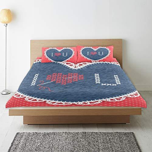 DEZIRO - Juego de funda de edredón para adolescentes, diseño de corazón con agujas, de algodón natural puro, tamaño individual con 2 fundas de almohada para decoración de dormitorio de niños, juego de cama de 3 piezas