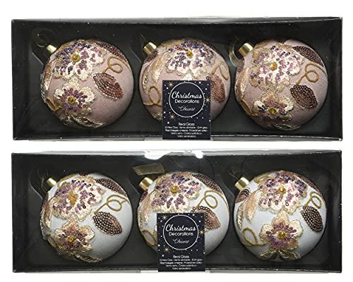 Decoris Bolas de Navidad con motivos de cristal, 8 cm x 6 unidades, flores con lentejuelas, bolas de Navidad, color rosa y...