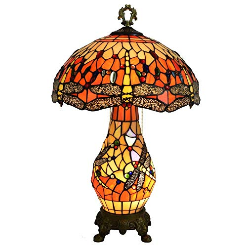 YUXIwang Tiffany estilo lámpara de mesa amarillo libélula 2 luces 40 W sala lámpara de noche 15 pulgadas interior estilo Tiffany iluminación