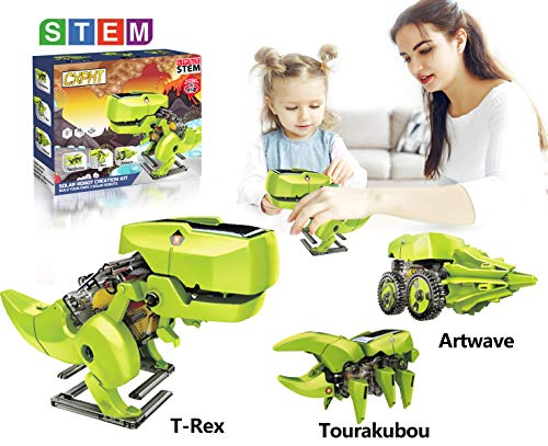 happyplay Upgrade Solar Robot Kit for Boys and Girls Educational STEM Learning Science Building Dinosaur Toys Robot Set for Kids Age 8 9 10 11 12 13 14 15 and Up