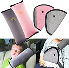 4Pack Seatbelt Pillow Car Seat Belt Covers for Kids, Adjust Vehicle Shoulder Pads Safety Belt Protector Cushion Plush Soft Auto Seat Belt Strap Cover Headrest Neck Support for Children Baby