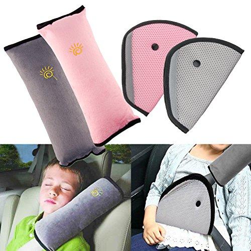 R HORSE 4Pack Seatbelt Pillow Seat Belt Covers for Kids, Adjust Shoulder Pads Safety Belt Protector Cushion Plush Soft Seat Belt Strap Cover Headrest Neck Support for Children Baby