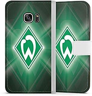 DeinDesign Klapphülle kompatibel mit Samsung Galaxy S7 Handyhülle aus Leder weiß Flip Case SV Werder Bremen Offizielles Lizenzprodukt Wappen