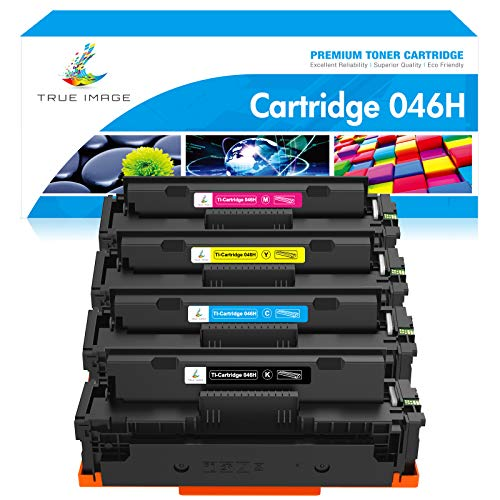 TRUE IMAGE Compatible Toner Cartridge Replacement for Canon 046H 046 CRG-046H Color ImageCLASS MF733Cdw MF731Cdw MF735Cdw LBP654Cdw MF731 MF733 Printer Ink (Black Cyan Magenta Yellow, 4-Pack)